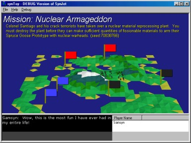 This is an example MISSION screen, where you can see what needs to be blown up.